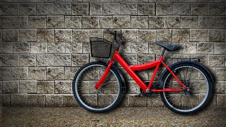 dirty house: red bicycle on old dirty  house wall.