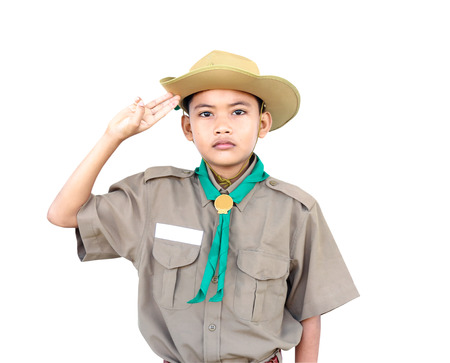 scouts: Little student boy in Scouts uniform on white background. Stock Photo
