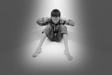 negative emotion: Negative emotion of a boy,teenage problem concept