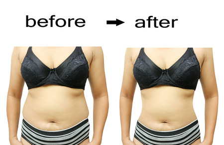 body line: Womans body before and after a diet