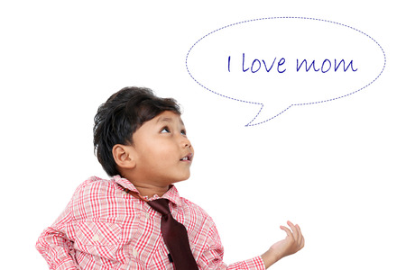 A little asian boy tell I love mom