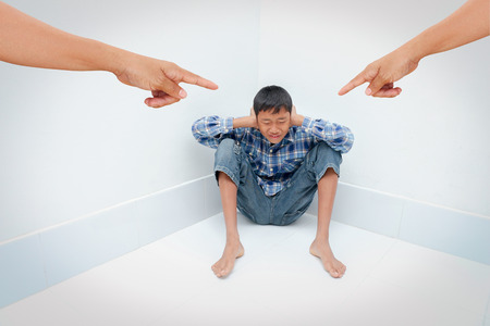 disrespect: Negative emotion parent pointing at child ,teenage problem concept