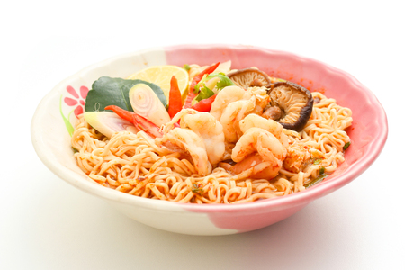popular soup: Noodles Shrimp or noodles Tom Yum goong Soup popular of thai food. Stock Photo