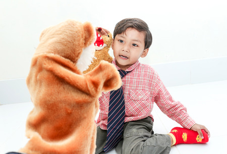 puppet show: The boy happy with Hand puppet  show