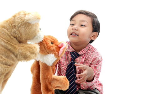 puppet show: The boy happy with Hand puppet  show.