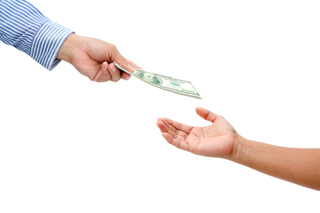 man holding money: woman hand sent dollar money to men hand.