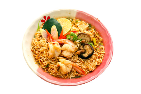 malaysian food: Noodles Shrimp or noodles Tom Yum goong Soup popular of thai food. Stock Photo