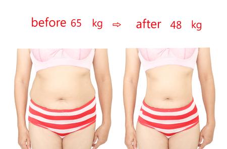 女性の体は、食事の前後に。 写真素材