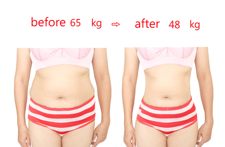 before after: Womans body before and after a diet.