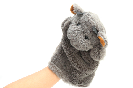 Hand puppet for child on white background.
