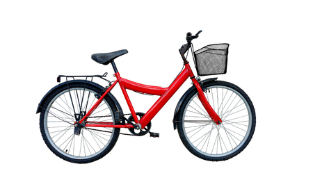 mountain bicycle: Red bicycle isolated on a white background. Stock Photo