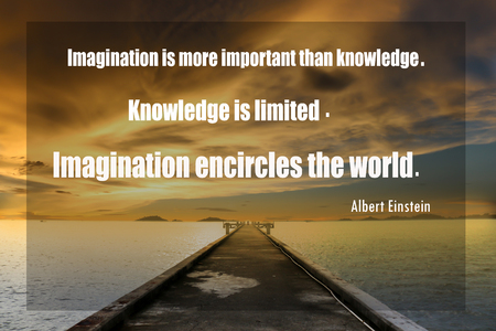 Inspirational quote  by Albert Einstein on sunset  blurred background