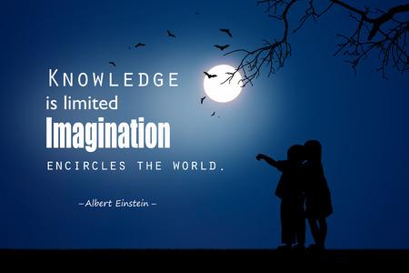 Inspirational quote  by Albert Einstein on night  background.