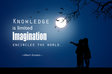 citations: Inspirational quote  by Albert Einstein on night  background.
