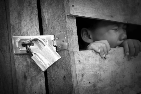 Trafficking or the concept of human rights violations. Stock Photo