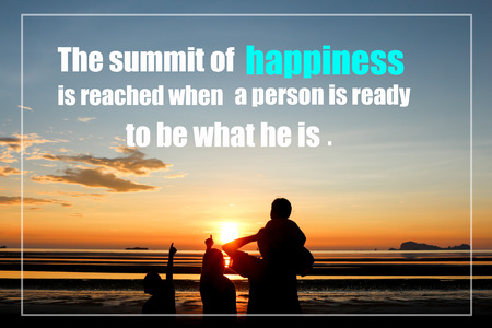 Inspirational quote on sunset blurred background.