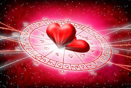 Rode achtergrond van de astrologie en liefde concept.