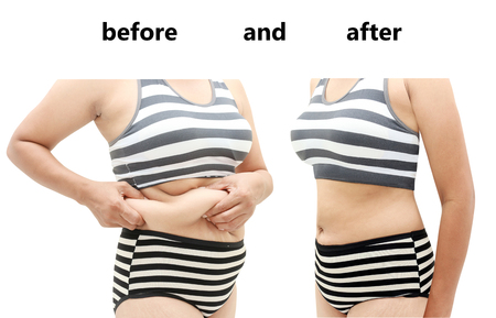 big body: Womans body before and after a diet
