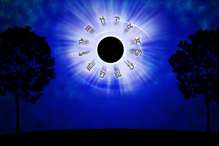eclipse: Astrology concept. man praying at lunar eclipse or Rahu night. Stock Photo