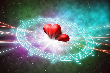 Amour dans le concept d'horoscope. Banque d'images - 50933923