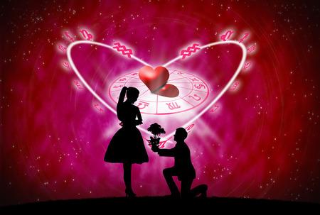 占星術と愛の概念の背景が赤。