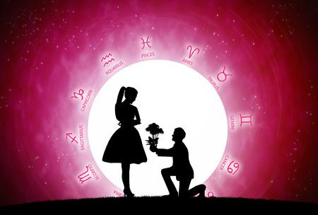 Sfondo rosso di astrologia e concetto di amore.