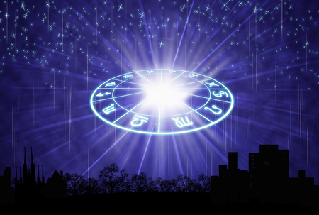 two wheel: background of the horoscope concept.