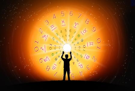 fondo de la astrología y el concepto de la fortuna. Foto de archivo