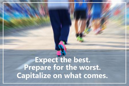 Inspirational quote on blurred sport background. Zdjęcie Seryjne