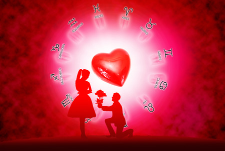 Silhouette young lovers on  background of horoscope and love concept.