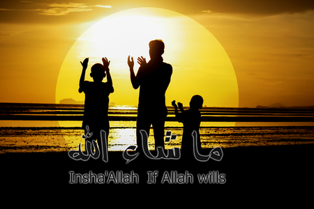 posting: A silhouette of  family praying  , If Allah wills with arabic calligraphy for celebrations greeting cards, printing or posting on websites. Stock Photo