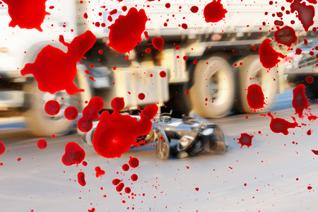 total loss: Motorcycle accidents on the road and blood splash.