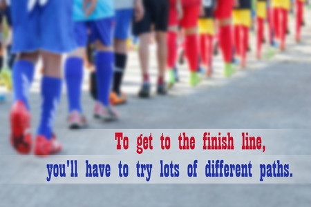 citations: Inspirational quote on blurred sport background. Stock Photo