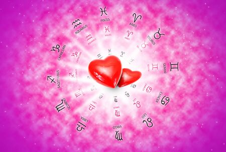 astral: big red heart on background of horoscope and love concept.