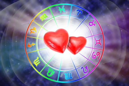 Big red heart on blue background of the horoscope and love concept.