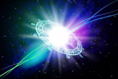 The zodiac and astrology background. Standard-Bild
