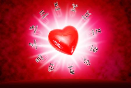 星座と愛の概念の背景に大きな赤いハート。 写真素材