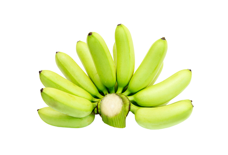 musa: green banana isolate on a white background,with clipping path. Stock Photo