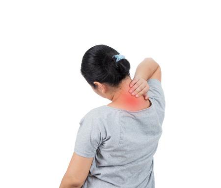 Asian women has neck pain.