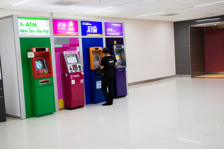 providing: Don Muang Airport, Thailand 25 september 2016 ATMs in the Don Muang Airport Providing convenience to  domestic passenger And international passenger.. Editorial