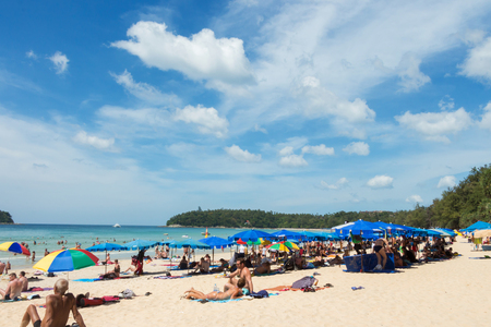 PHUKET,THAILAND 25 dec 2016 ;Many tourists on the beaches of Phuket Island. Where to stayand celebrate the Christmas  and new year season,Phuket is a popular of tourists and want to travel for relax.