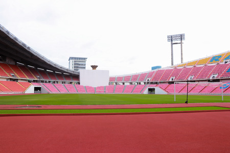 Bangkok, Thailand - August 4, 2017: Rajamangala National Stadium  a part of the Hua Mak Sports Complex, is the national stadium of Thailand and the home stadium for the Thailand national football team.(the day is no sunshine in the sky) 新聞圖片