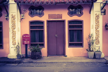Phuket, Thailand - december 25, 2016 Old building Sino Portuguese style in phuket Thailand with vintage style filter.