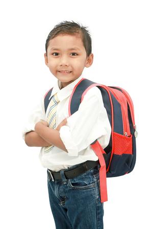 little student boy with backpack. 版權商用圖片