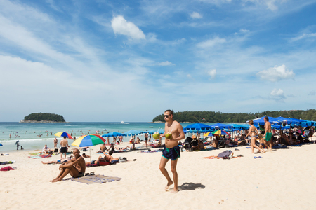 PHUKET, THAILAND - 25 dec 2016 : Many tourists on the beaches of Phuket Island. Where to stay and celebrate the Christmas  and new year season, Phuket is a popular of tourists and want to travel for relax. Sajtókép