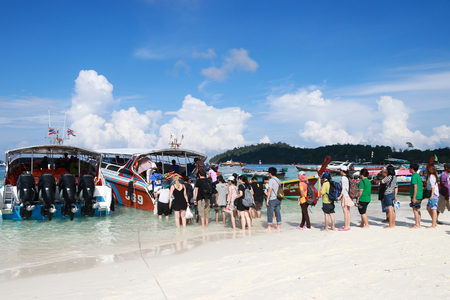 25, April - 2017-Satun Thailand;At the morning many tourists in Koh Lipe island return by speedboat, Koh Lipe is a popular tourist destination for tourists around the world.