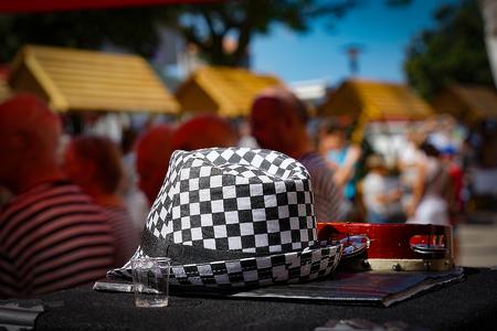 chequer: Black and White hat and tambourine on , Croatia Stock Photo