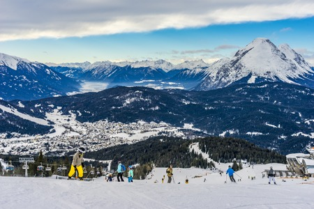 Skier skiing on Seefeld Ski Resort in winter
