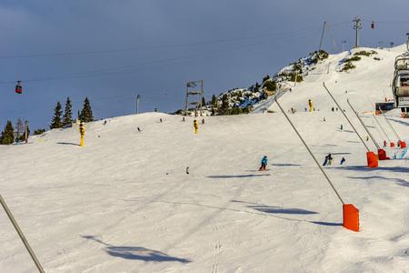 Skier skiing on Seefeld Ski Resort in winter