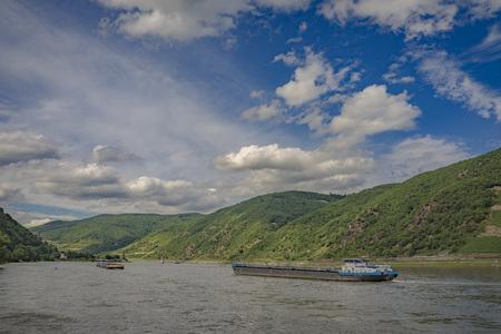 Passenger ship on the river Rhine in Hessen, Germany. Stock fotó